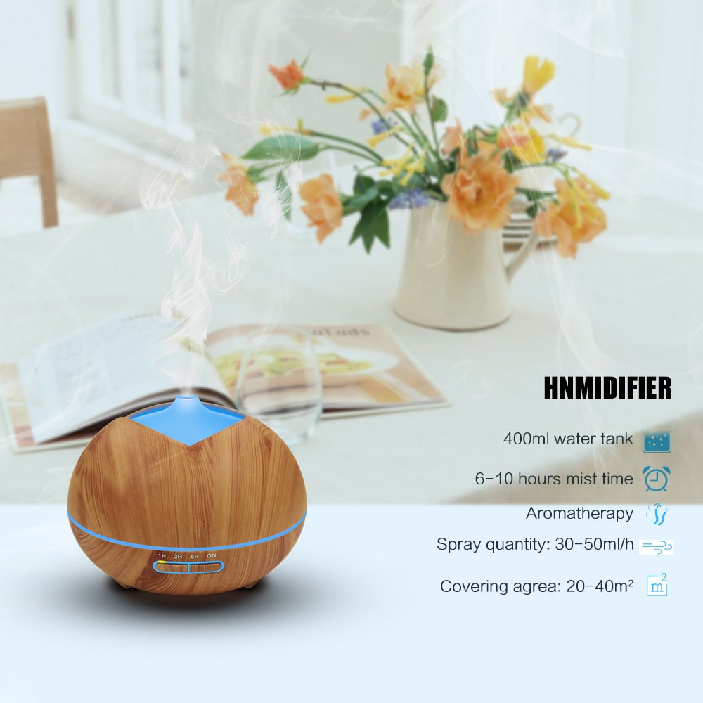 Essential Oil Diffuser, Uiot 450ml Cool Mist Humidifier Aromatherapy Oil Diffuser Wood Grain with Waterless Auto-Off, 7 Color LED for Yoga SPA Office Home Bedroom (Woou Grain)