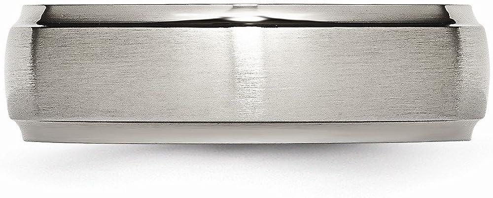 FB Jewels Solid Titanium Ridged Edge 7mm Brushed And Polished Wedding Band