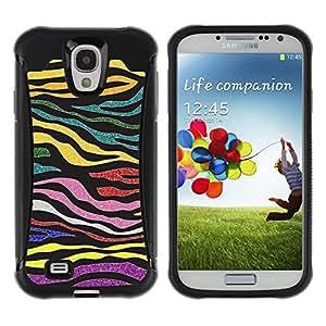 Suave TPU GEL Carcasa Funda Silicona Blando Estuche Caso de protección (para) Samsung Galaxy S4 IV I9500 / CECELL Phone case / / Stripes Glitter Gold Purple Pattern /