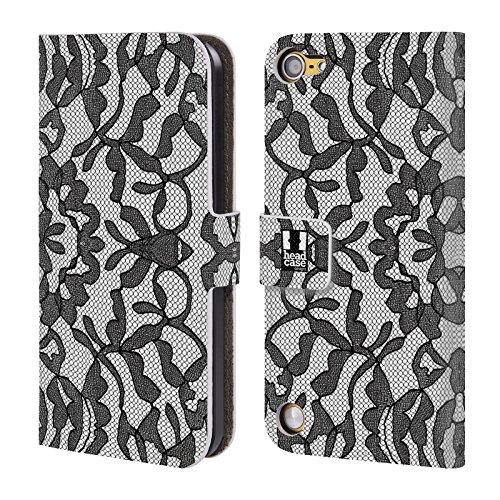Head Case Designs Foglioso Pizzo Nero Cover a portafoglio in pelle per iPod Touch 5th Gen / 6th Gen