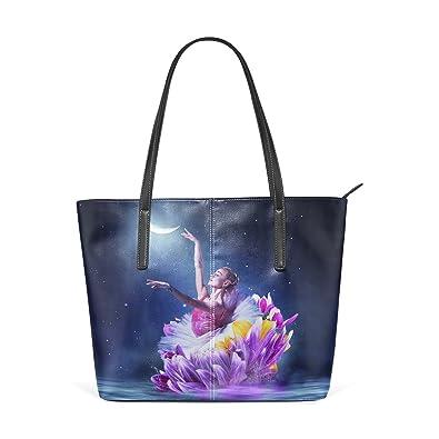 b4e8131f8b4a Amazon.com  Womens Dance Flower Leather Handbags Purses Shoulder Tote Bags  Satchel  Shoes