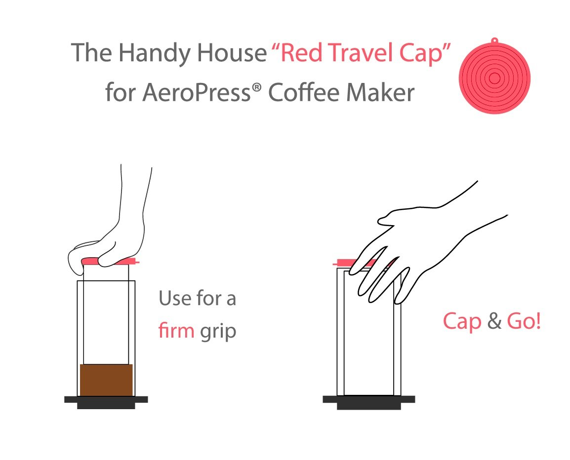 The Handy House Travel Cap for AeroPress Coffee Maker, Red by The Handy House (Image #1)