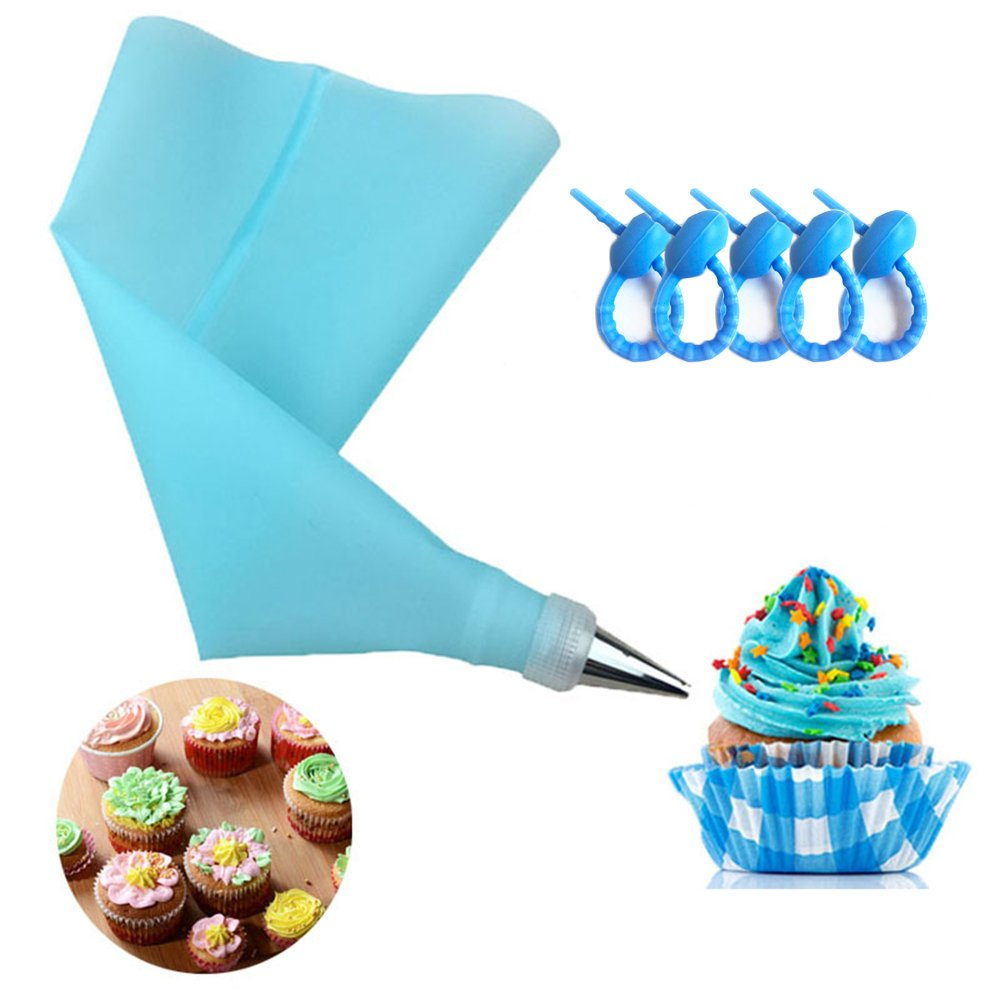 100 Pcs Disposable Decorating Bags and 2 Pcs Reusable Pastry Bags 16 Inch Larger Thicken Icing Piping Bags for Cupcakes Baking Lover Non Slip Frosting Bags with 5 Bag Ties by Banoy (Image #3)