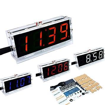 a2971b035 Fansport Kit De Reloj Digital Kit De Reloj LED De Fecha Y Hora De 4 DíGitos