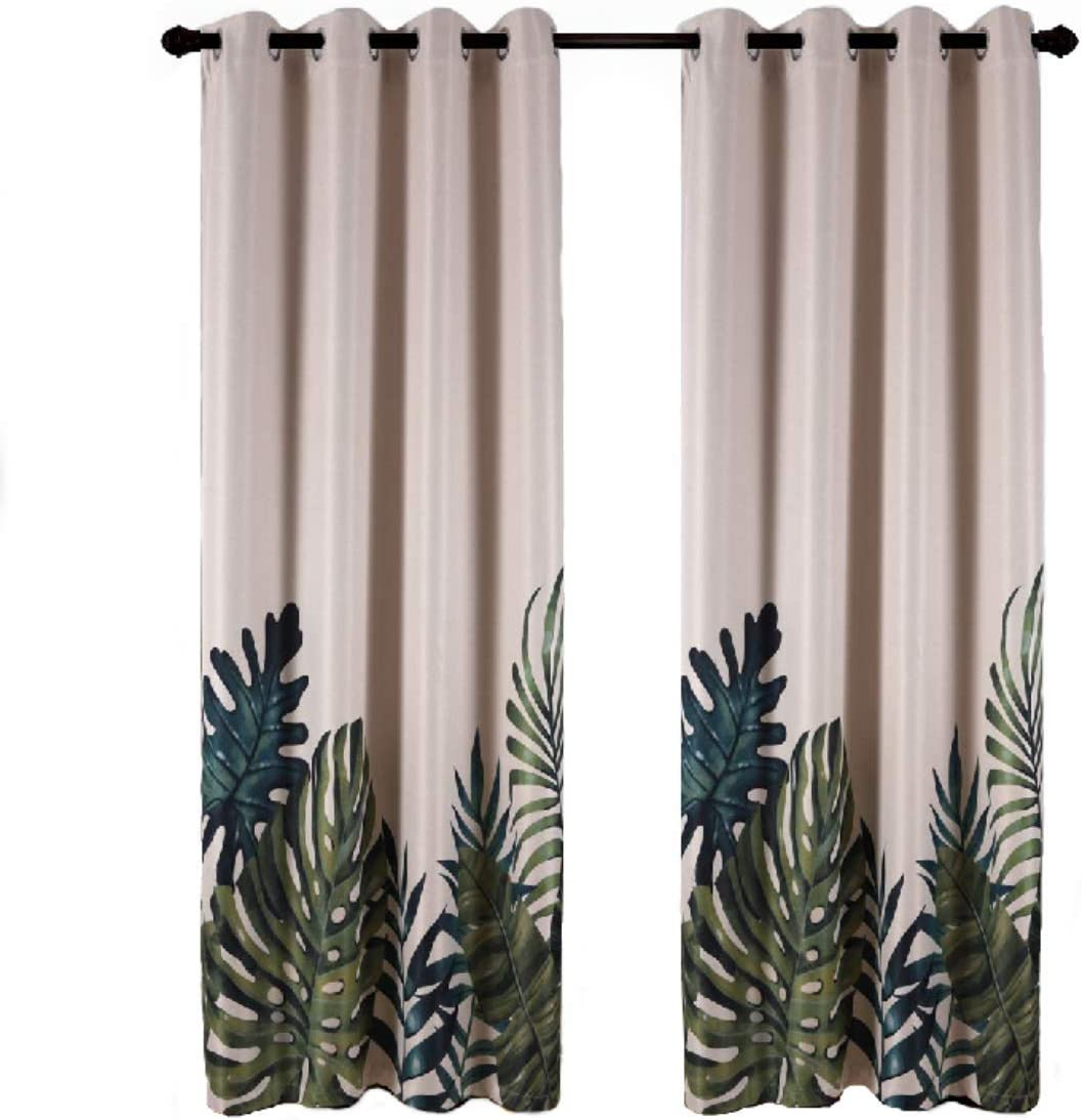 "Taisier Home Palm Leaves Print Exotic Style Nature Artwork,2 Panels Fashion Grommet Top Thermal Insulated Room Darkening Curtains,Printing Curtain Leaves(95"" Print Curtain)"
