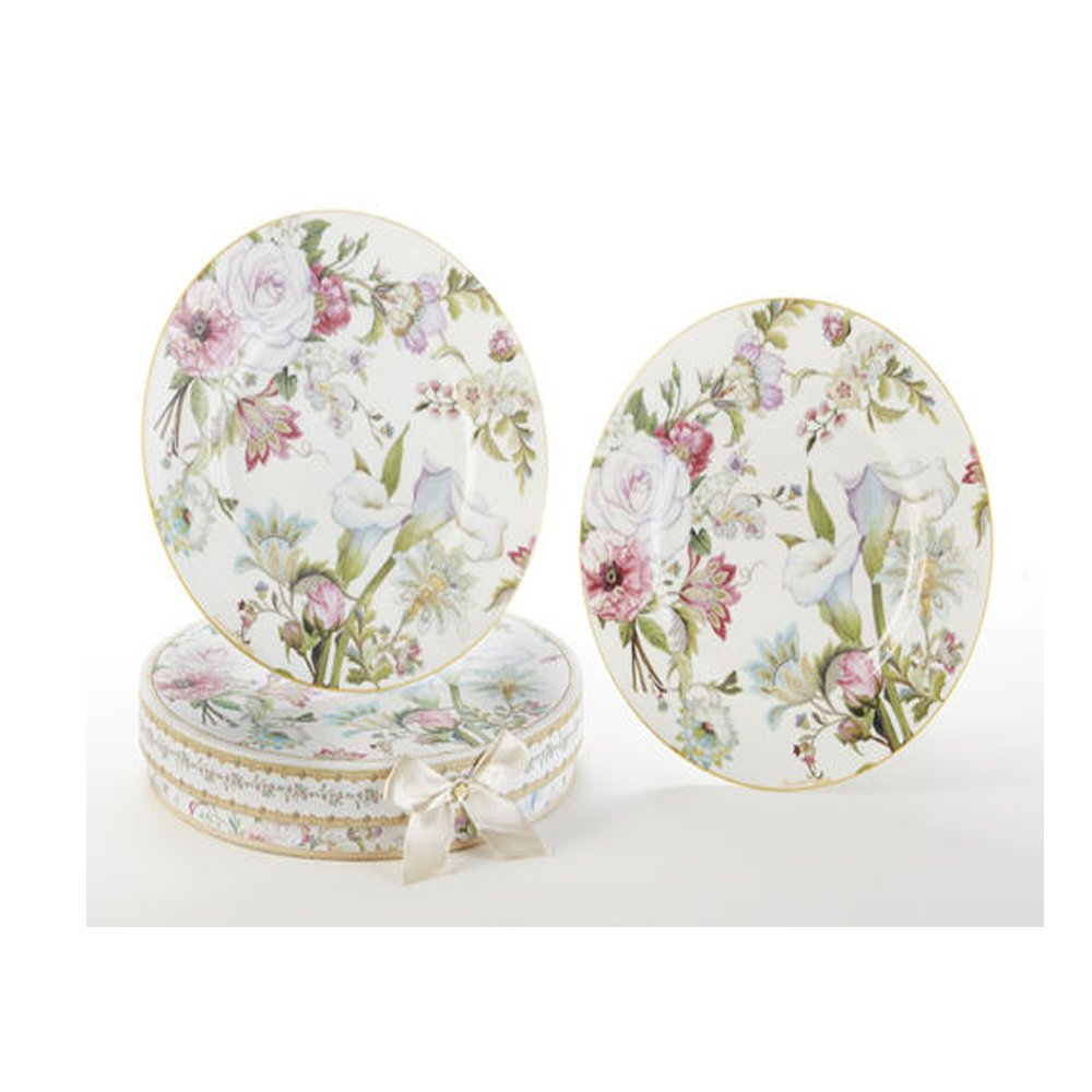 8'' Porcelain 2-Plate Set, Pale Rose