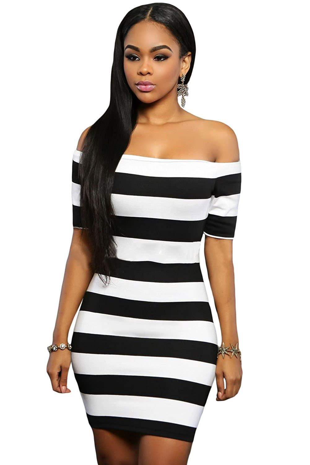 Amazon.com: Women\'s Dresses Sexy Black White Striped Off The ...