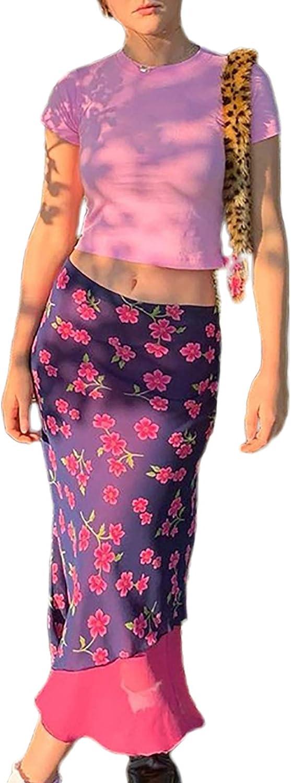 Siyova Falda de mujer de verano E-Girl 90S de estilo estampado floral púrpura casual irregular Midi falda Y2K retro vintage cintura alta A-Line Slim Fit Falda gótica Vestidos violeta L