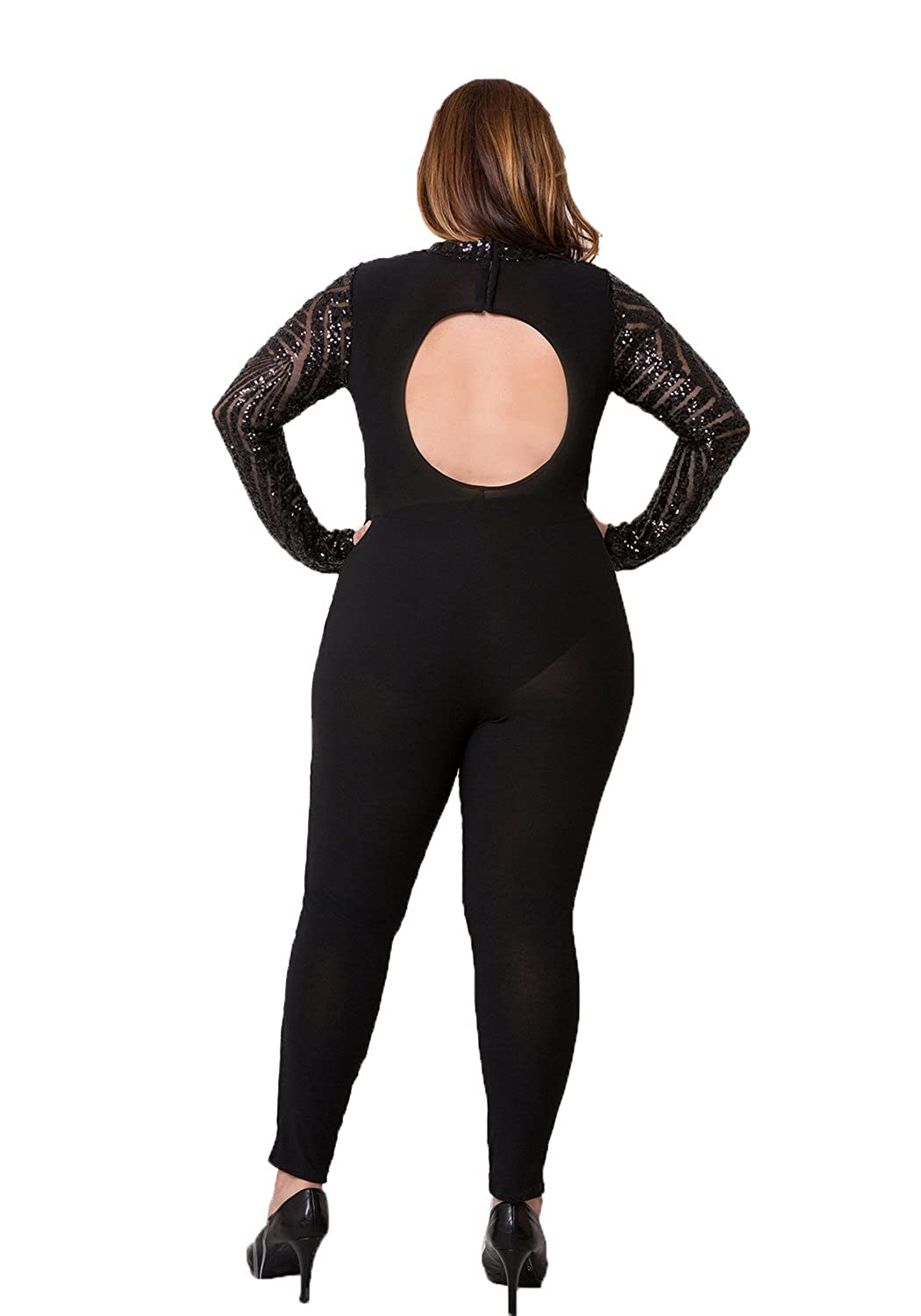 3d47cef5f67 ShopQueen Women s Plus Size Black Sequined Back Cutout Sheer Jumpsuit BLACK  3XL  Amazon.ca  Clothing   Accessories