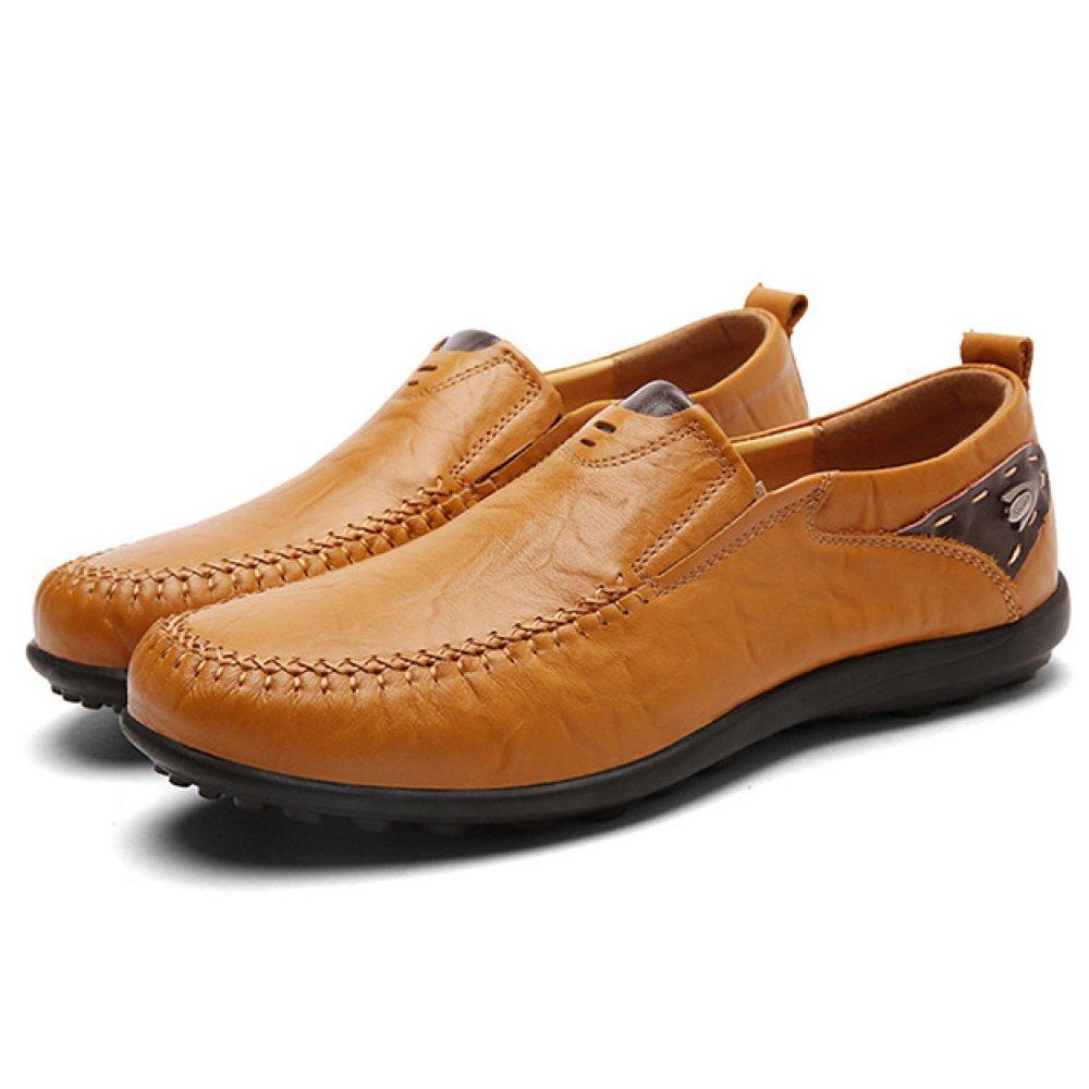 HGDR Zapatos De Cuero De Los Hombres Zapatos De Negocios De Conducción Informal Mocasines De Trabajo De Oficina En Los Zapatos Planos,Yellow-44 44|Yellow