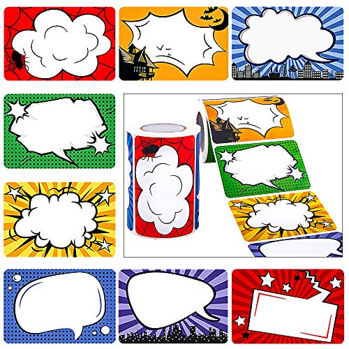 JPSOR 500Pcs Superhero Name Label Stickers Name Tags for School Office Home (2 Rolls, 8 Designs)]()