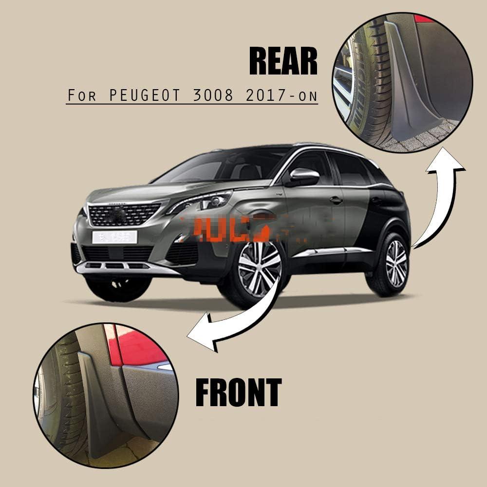 Misura per Peugeot 3008 MK2 SUV 2017-2019 Nero Anteriore Posteriore 4 Pezzi paraspruzzi paraspruzzi LUVCARPB Paraspruzzi Auto