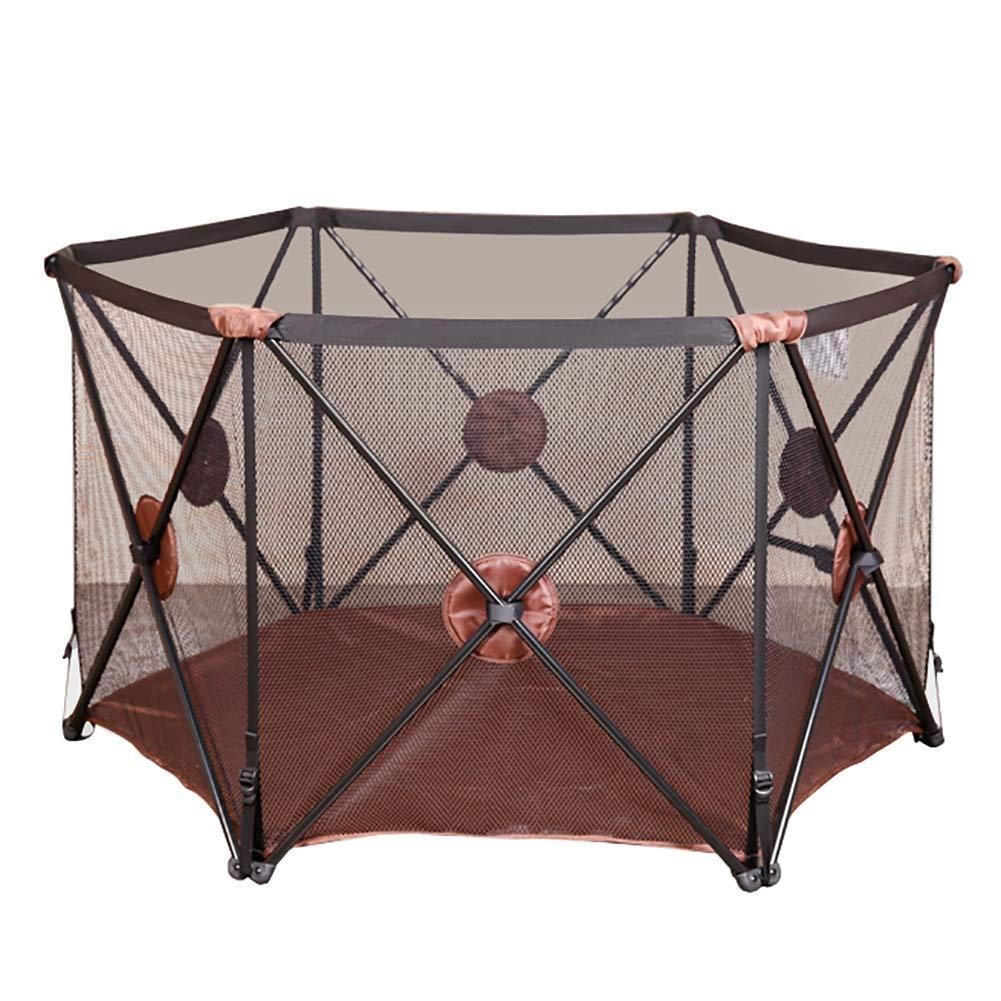 PNFP 赤ちゃんのベビーサークルポータブル折りたたみ安全プレイヤード子供安全フェンス (Color : Brown)  Brown B07TSJNN25