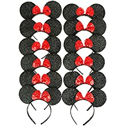 RufnTop Mickey and Minnie Mouse Ears Headband(Sparkled Black Set of 12)