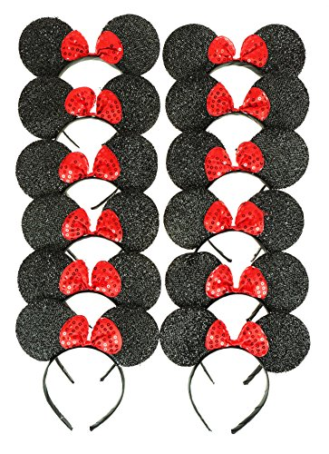 Pictures Of Minnie Mouse Costumes (RufNTop Mickey and Minnie Mouse Sparkled Ears Headband for Boys and Girls Costume Accessory for Birthday Party or Celebrations(Sparkled Black set of 12))