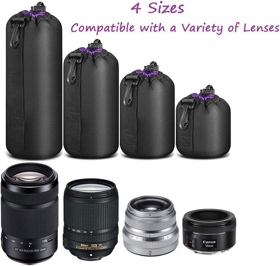 Panasonic Nikon Bluelliant Camera Lens Case,Water Resistant Neoprene Lens Pouch Bag for DSLR Camera Lens,Camera Lens Accessories Protective Case for Canon Pentax Tamron Sony-Set of 4