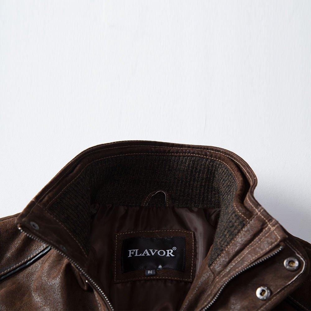 Amazon.com: FLAVOR - Chaqueta de piel, cuello de piel ...