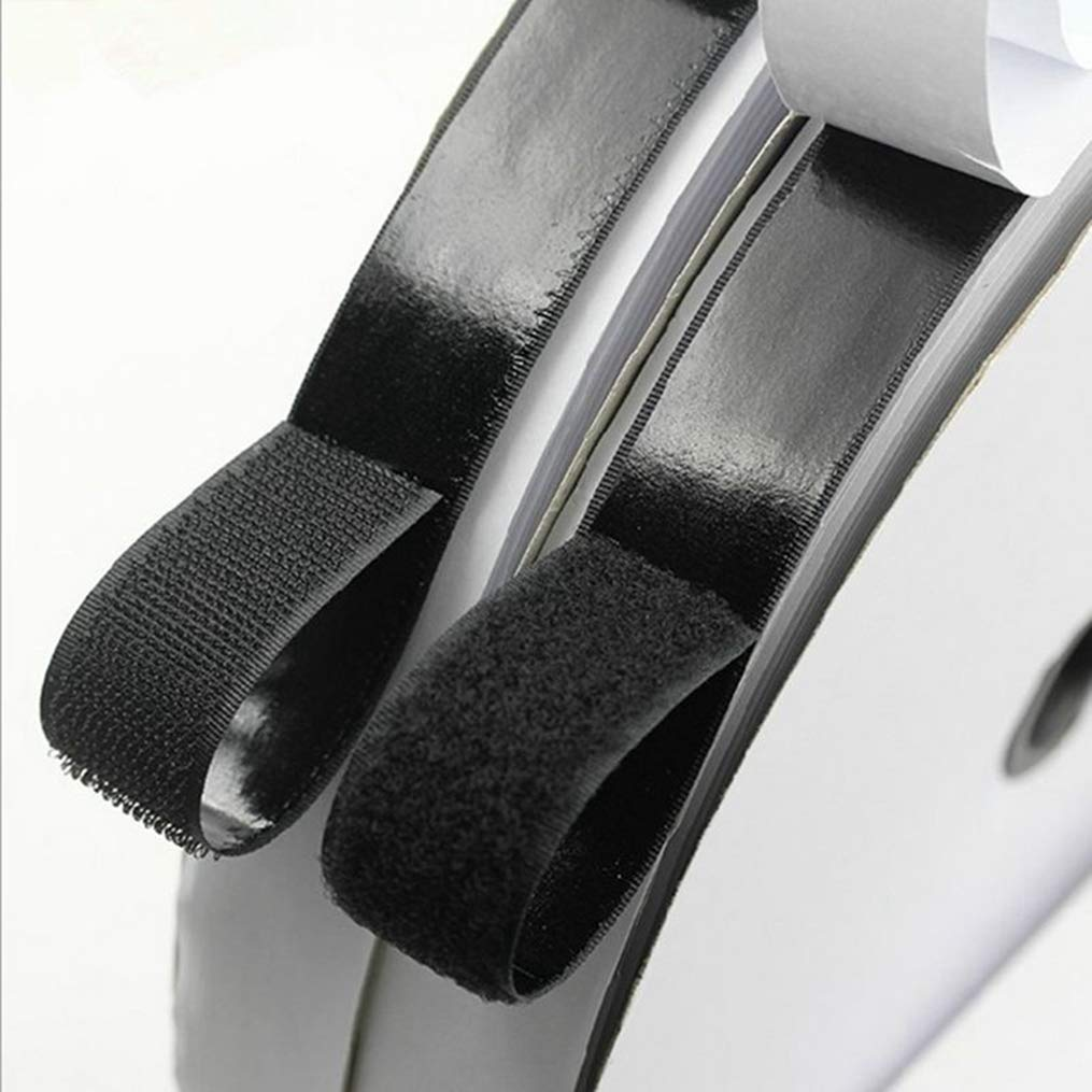 Hook and Loop 2ロール ブラック ホワイト 5M 強力粘着ファスナーテープ デザイナースティックマジック cl003  Black Width 20mm B07GJJZVKC