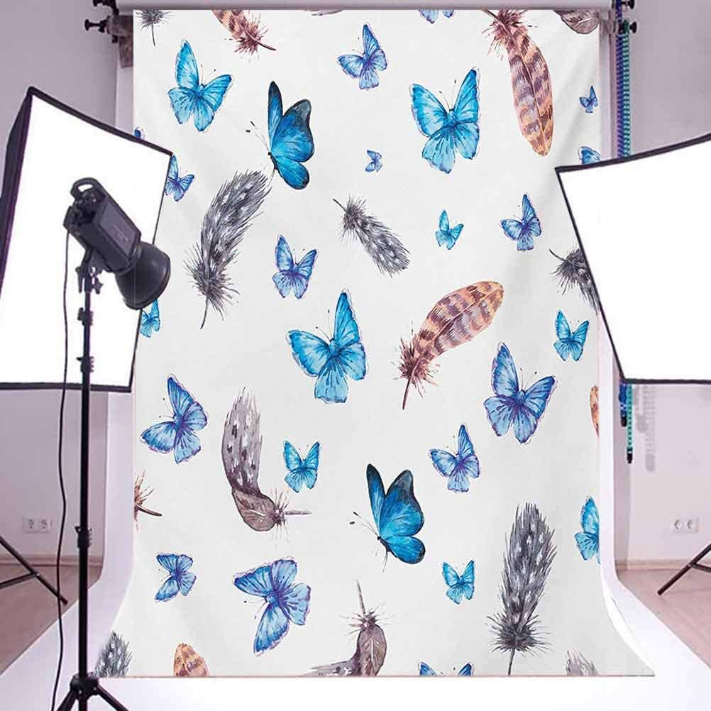Feathers and Butterflies Watercolor Style Image Print Vintage Style Print Background for Baby Birthday Party Wedding Vinyl Studio Props Photography Butterfly 10x12 FT Photography Backdrop