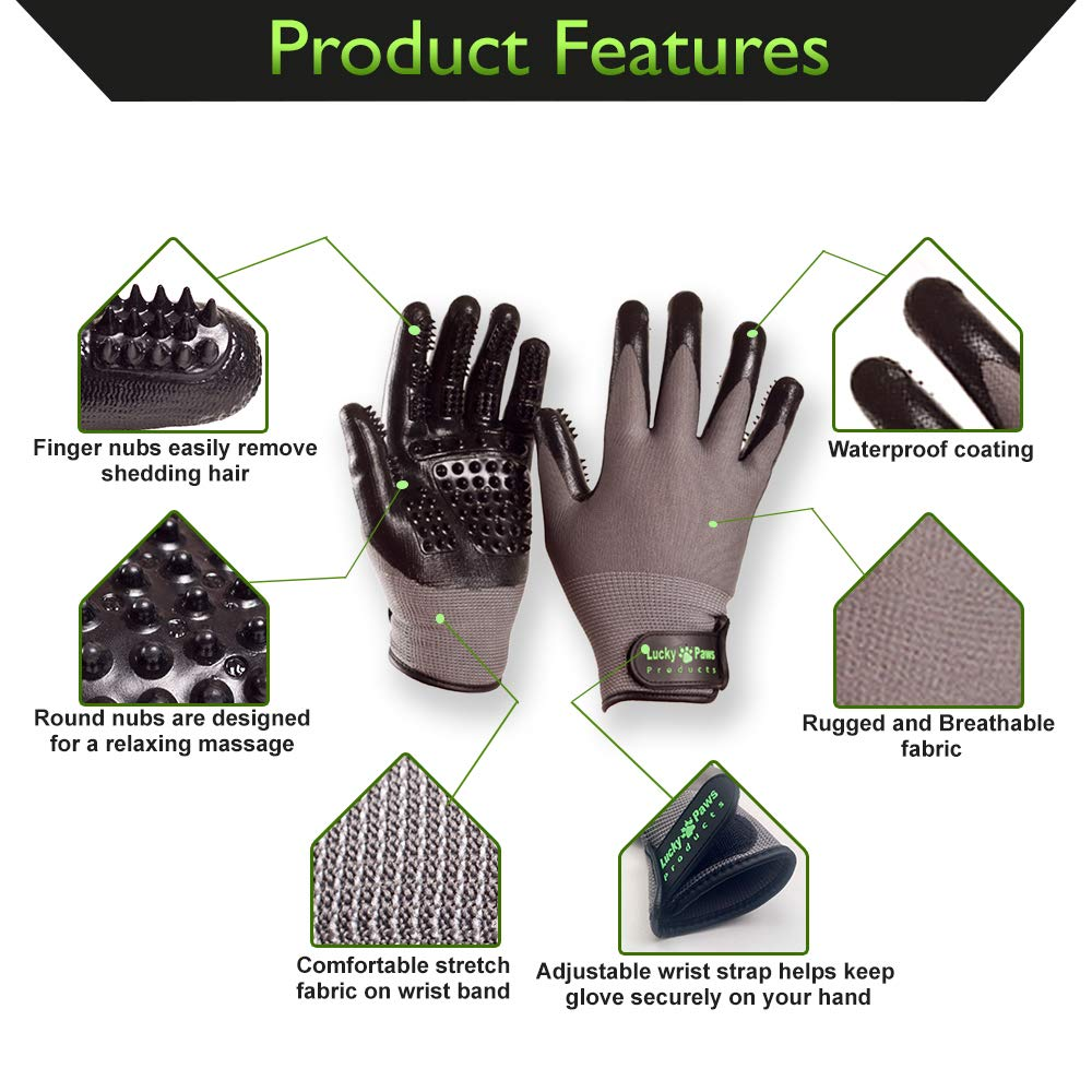 Lucky Paws Products Premium Pet Grooming Gloves – Gentle Deshedding Brush Glove - Use As A Pet Hair Remover for Shedding, Bathing & Grooming - Perfect for Cats, Dogs, Horses Or Other Pets. by Lucky Paws Products (Image #2)