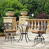Cheap DOMI OUTDOOR LIVING Patio Bar Set, Outdoor Patio 3pcs Set Pedestal Bar Table, Antique Bronze Cast Aluminum