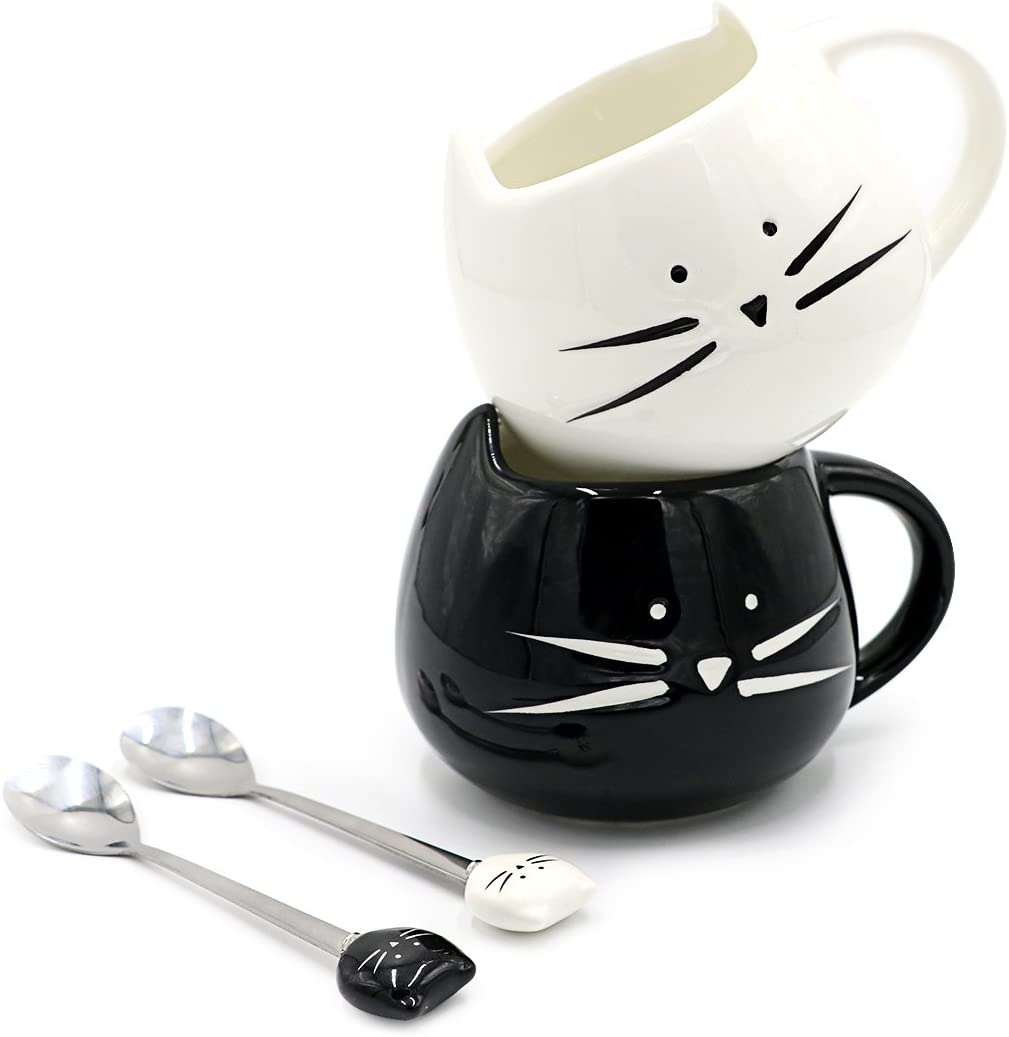 Teagas Cat Coffee Mugs for Crazy Cat Lady - Black & White Ceramic Cat Coffee Mugs and Cute Cat Spoons Set for Coffee Tea 12oz