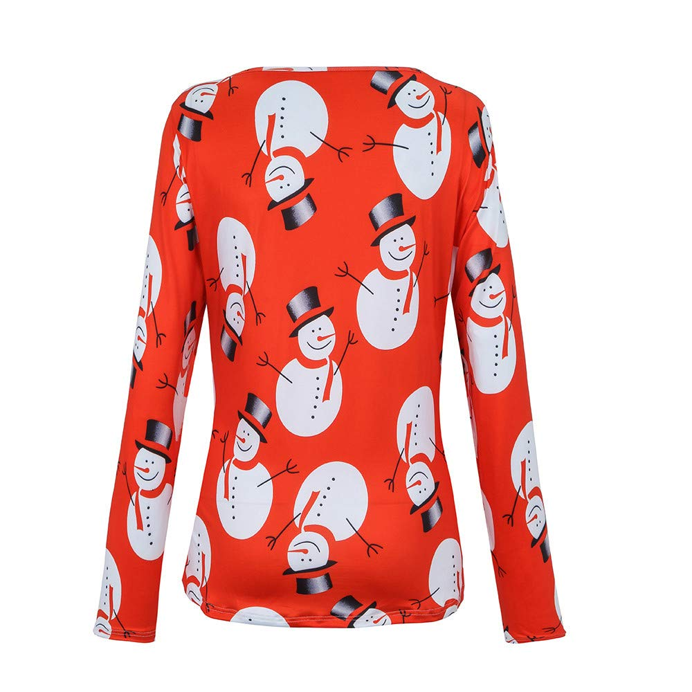 2b557a5424dc3 Amazon.com  Kumike Fashion Women s Plus Size O-Neck Christmas Snowman Print  Bottoming Ruched T-Shirt Tops Blouse  Clothing
