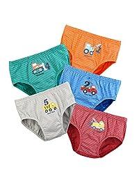 Boys Underwear,BOOPH Little boys Toddlers Cotton Underwear Briefs Car 5 Pack for Kids