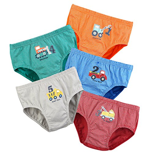 Potty Pickups - BOOPH Little Boys Toddlers Cotton Underwear Briefs Car 5 Pack