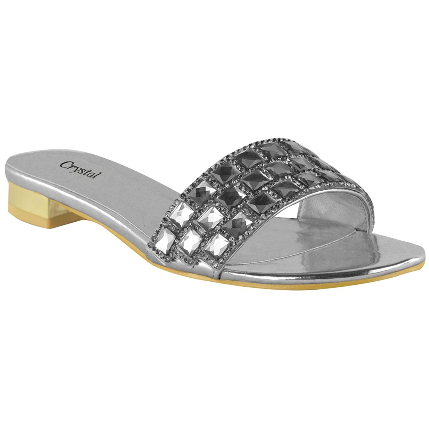 Fashion Thirsty Womens Low Block Heel Diamante Gem Evening Sandals Summer Flat Mules Size