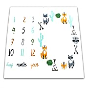 NinkyNonk Cute Woodland Animals Printed Baby Monthly Milestone Blanket Personalized Newborn Photo Props Shoots Backdrop for Boys Girls Baby Shower Gifts (Fox)