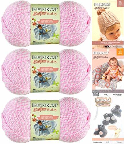 Bernat Softee Baby Yarn 3 Pack Bundle Includes 3 Patterns DK