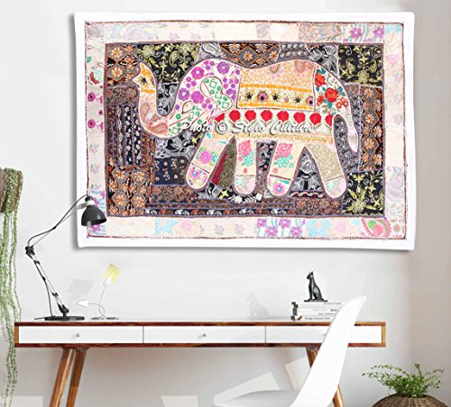 Ethnic  Wall Art Elephant Embroidered Patchwork