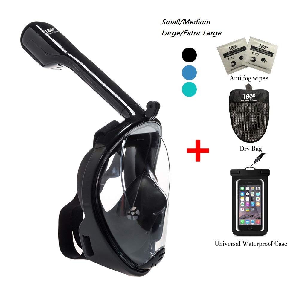 180° Snorkel Mask View for Adults and Youth. Full Face Free Breathing Design.[Free Bonuses] Cell Phone Universal Waterproof Case (Dry Bag) and Anti-Fog Wipes (Black, Small/Medium)