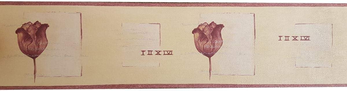 Beige Purple Tulip Floral Wallpaper Border Silver Metallic Textured Flower