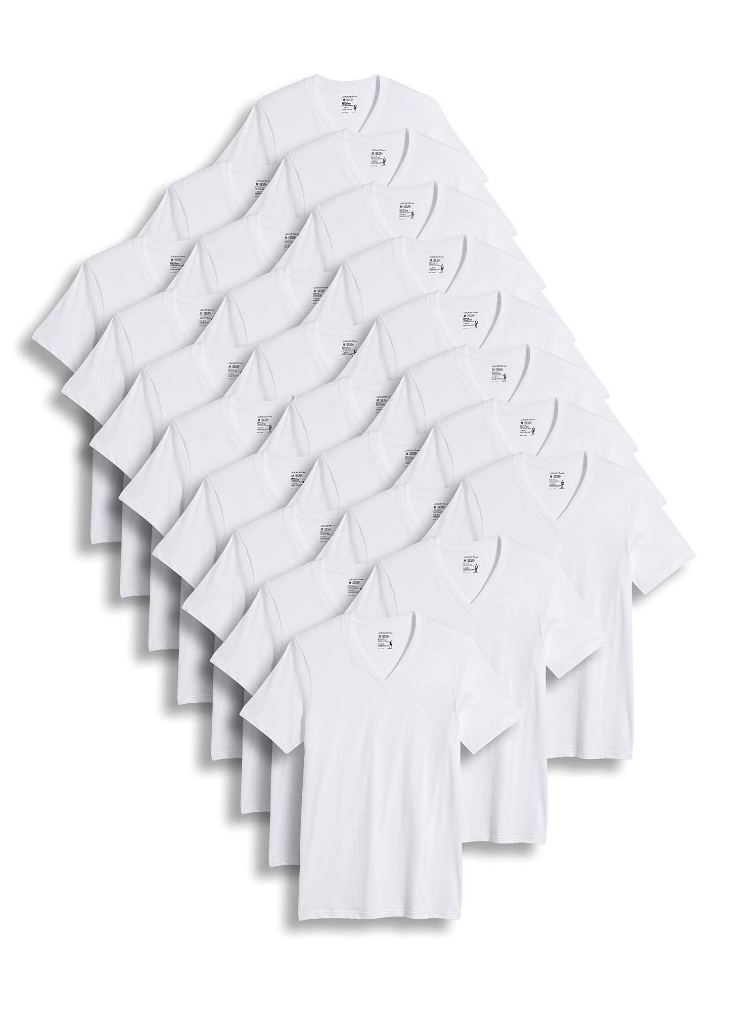 Jockey Men's T-Shirts Classic V-Neck T-Shirt - 24 Pack, White, L