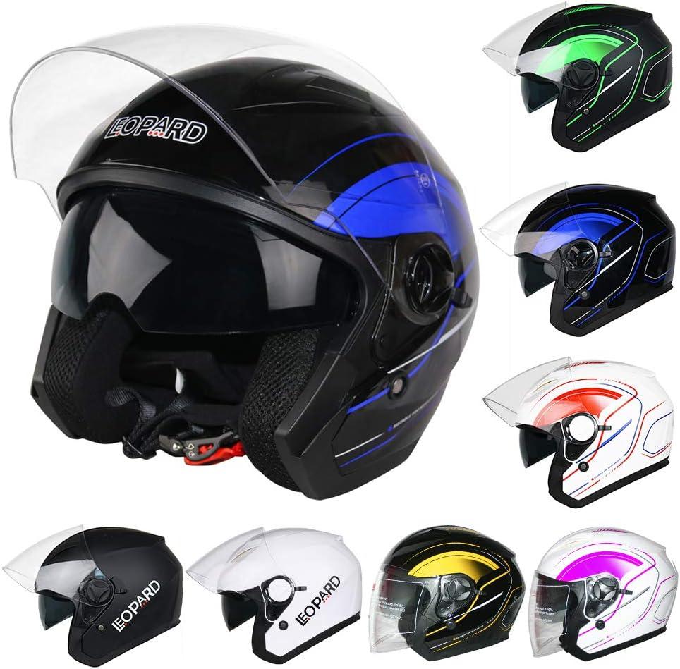 Leopard LEO-608 DOUBLE SUN VISOR Open Face Helmet SV Motorbike Motorcycle Helmet