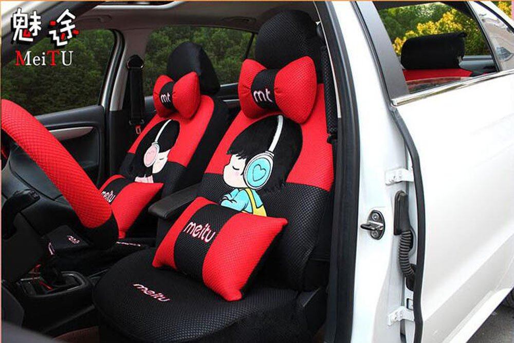 20pcs/SET Popular luxury Women love cartoon Lover Seat Covers for cars Front & Back car covers four seasons Universal car seat cover car interior red & Black V5612 by Maimai88