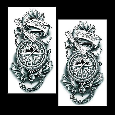 Oottati 2 Hojas Reloj Bolsillo Flor Brazo Tatuajes Temporales TF317: Amazon.es: Belleza