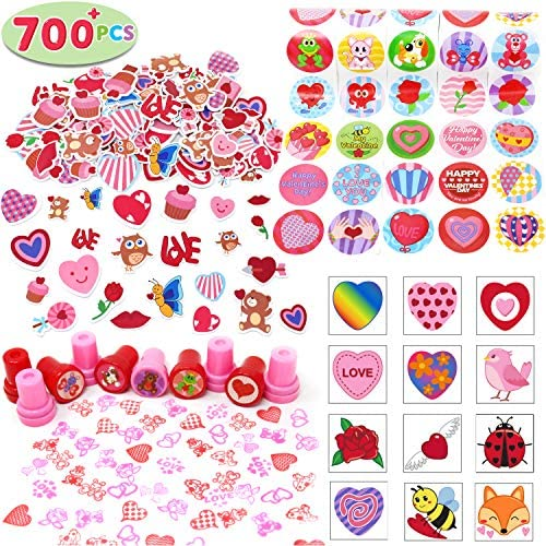 700+ Pcs Happy Valentines Day Party Favor Supplies Craft Set (Foam Stickers, Temporary Tattoos, Stampers & Stickers) Perfect for Decorations, Photo Props, Wedding, School Classroom Prizes, Art Craft.