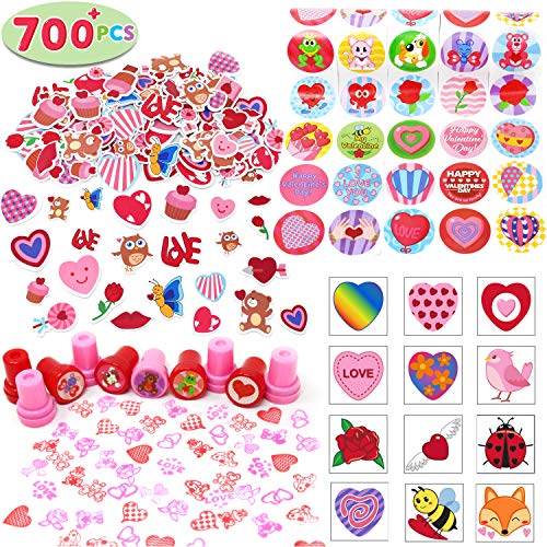 700+ Pcs Happy Valentines Day Party Favor Supplies Craft Set (Foam Stickers, Temporary Tattoos, Stampers & Stickers) Perfect for Decorations, Photo Props, Wedding, School Classroom Prizes, Art -