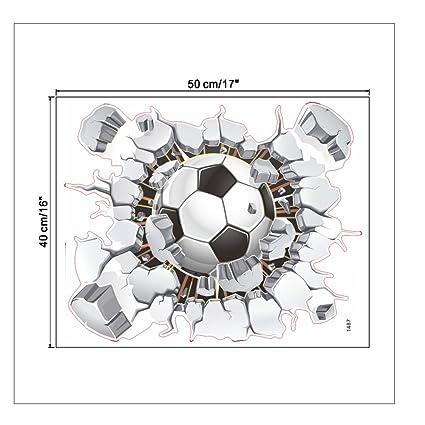 e8ee6fd2c Amazon.com  Toonol 1PCS Creative 3D Football Soccer Broken Playground  Sticker For Wall Hole Window Home Decals Kids Room Wall Sticker Art