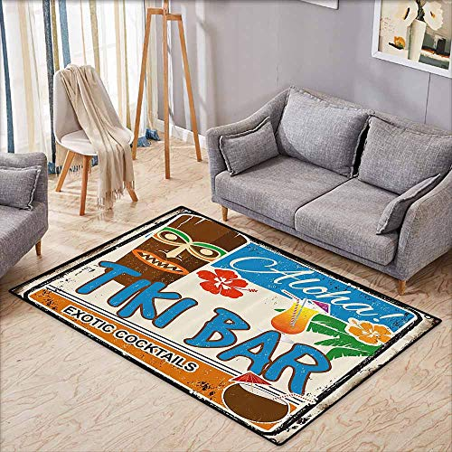 (Floor Rug Pattern Tiki Bar Decor Rusty Vintage Sign Aloha Exotic Cocktails Coconut Drink Antique Nostalgic Multicolor Quick and Easy to Clean W6'8 xL4'9)