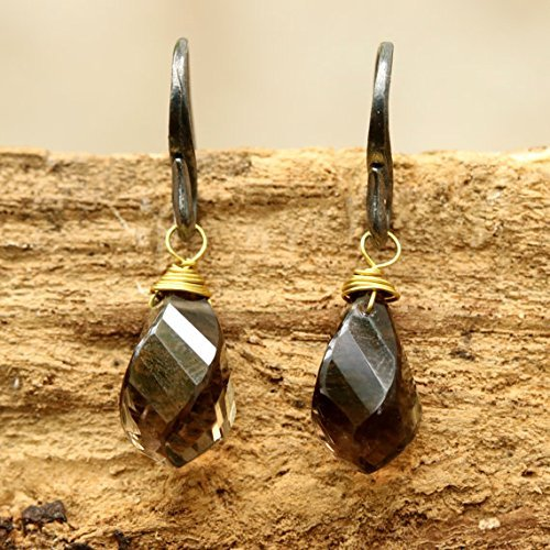 Smoky quartz drops twist faceted earrings with oxidized sterling silver hooks ()
