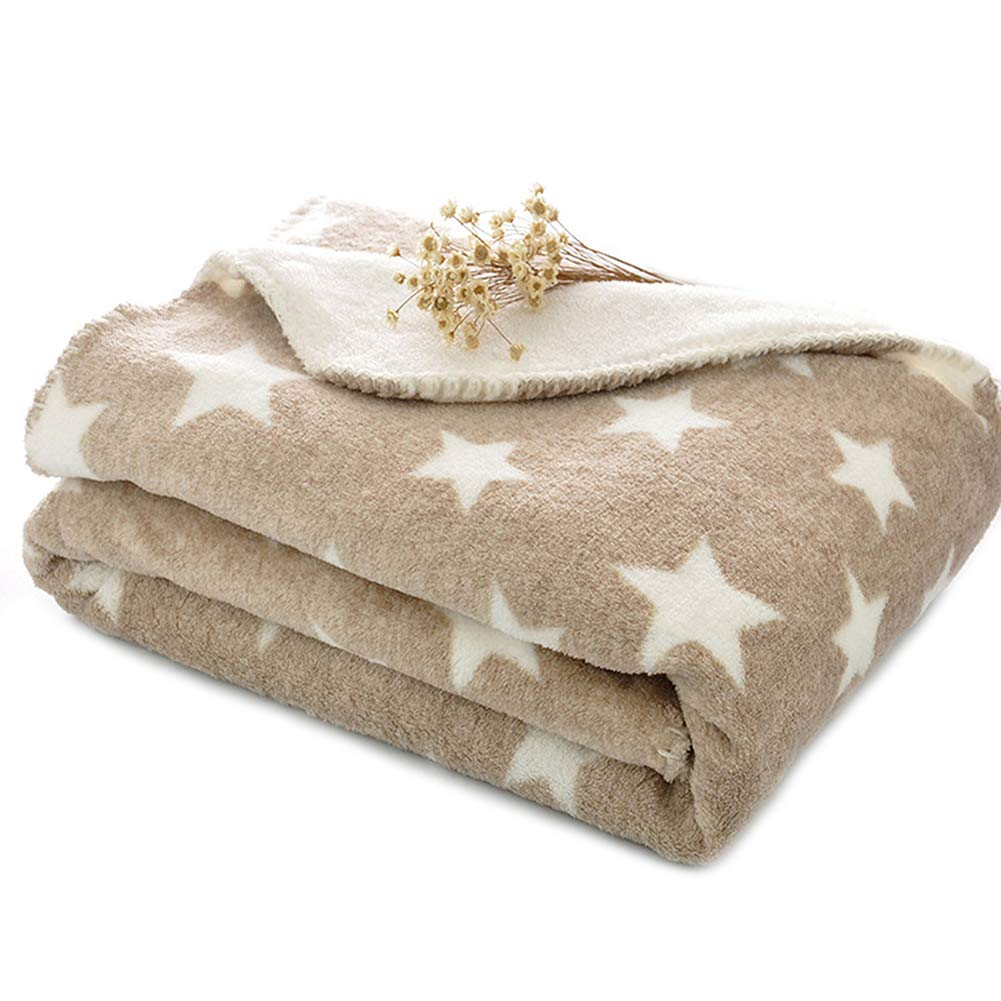 PRIMA Dog Puppy Blanket Double Layer Micro Fleece Plush Pet Cat warm Bed Cover Cushion Mat 30''40''/40''61'' Light Tan L