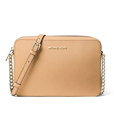 ab1ba187d652 MICHAEL Michael Kors Jet Set Large Saffiano Leather Crossbody - Pale  Gold Butternut  Handbags  Amazon.com