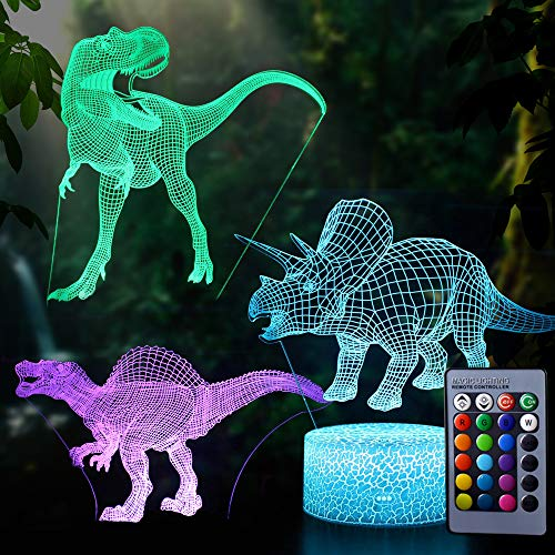 AdaSun 3D Dinosaur Night Light - 3D Illusion Lamp 3 Pattern and 7 Color Change Decor Lamp with Remote Control for Kids Best Birthday Gifts Toys for Boys Girls Baby Age 1 2 3 4-5 6 7 8 Year Old -