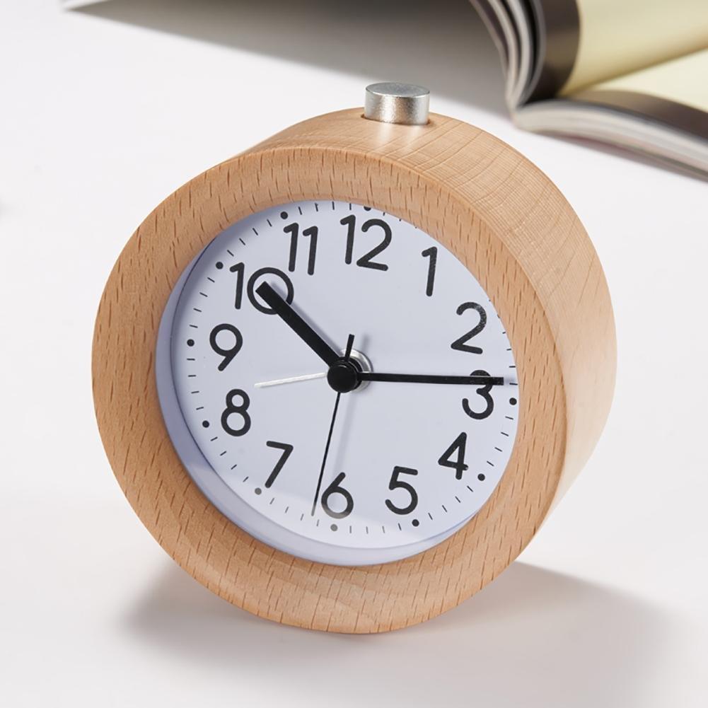 NAOZHONG Sveglia in Legno SXWY Fatta a Mano Classic Silent Desktop Snooze Clock Beech con retroilluminazione, 001 TIANXING