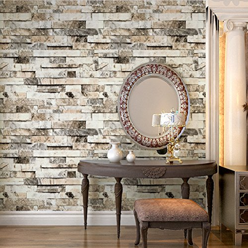 "HaokHome 91301 Modern Faux Brick Stone Textured Wallpaper Roll Beige/Grey/Brown Brick Blocks Home Room Decoration 20.8"" x 33ft"