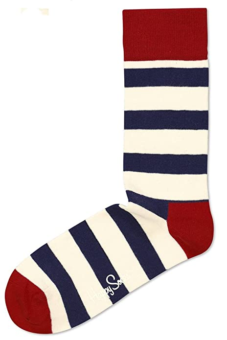 Happy Socks Azul Blanco y rojo raya calcetines - Medium